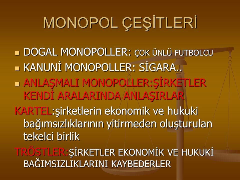 MONOPOL ÇEŞİTLERİ DOGAL MONOPOLLER: ÇOK ÜNLÜ FUTBOLCU