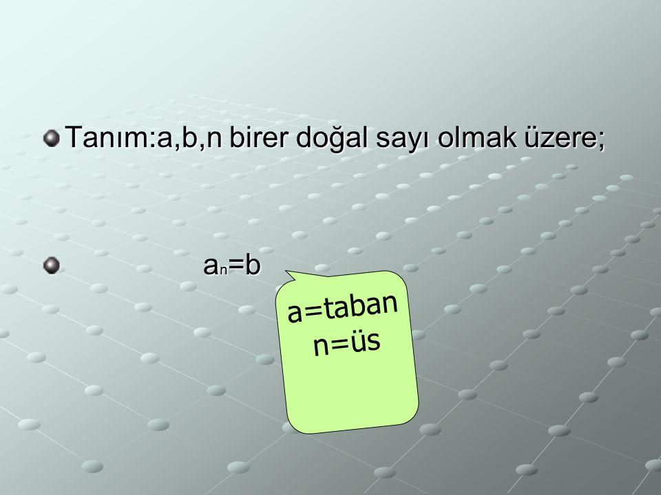 Tanım:a,b,n birer doğal sayı olmak üzere;