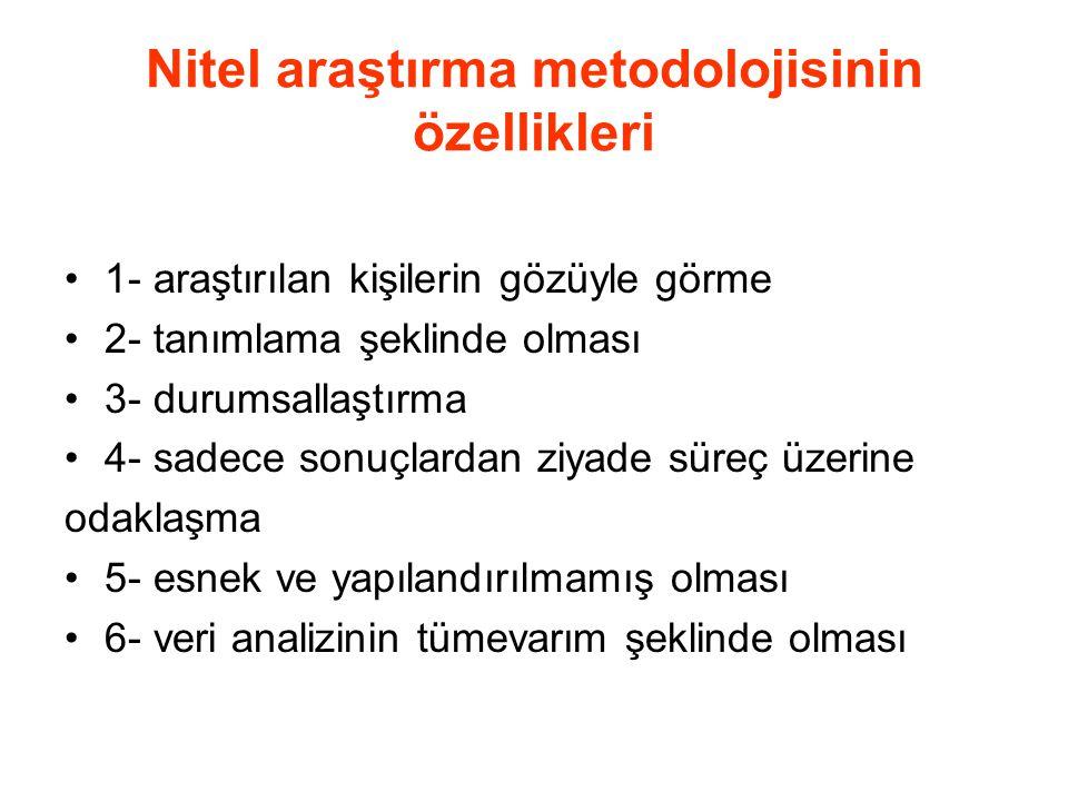 Nitel araştırma metodolojisinin özellikleri