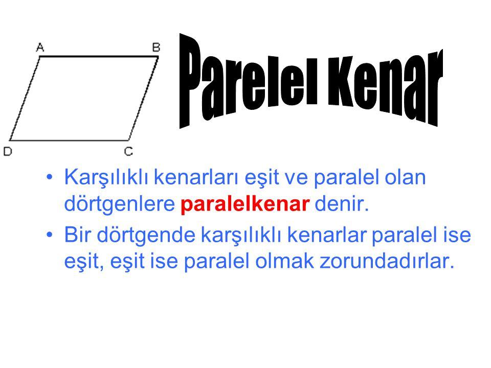 Parelel Kenar Karşılıklı kenarları eşit ve paralel olan dörtgenlere paralelkenar denir.