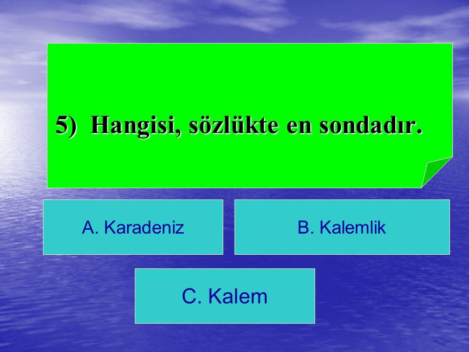 5) Hangisi, sözlükte en sondadır.