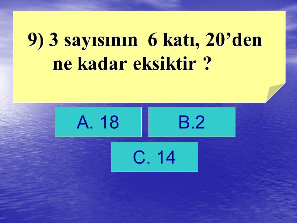 9) 3 sayısının 6 katı, 20'den ne kadar eksiktir