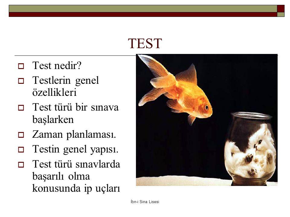 TEST Test nedir Testlerin genel özellikleri