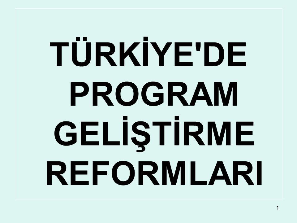 TÜRKİYE DE PROGRAM GELİŞTİRME REFORMLARI