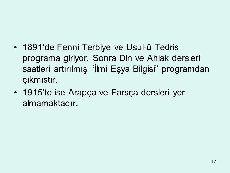 1891'de Fenni Terbiye ve Usul-ü Tedris programa giriyor