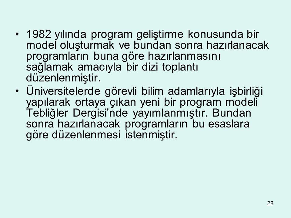 1982 yılında program geliştirme konusunda bir model oluşturmak ve bundan sonra hazırlanacak programların buna göre hazırlanmasını sağlamak amacıyla bir dizi toplantı düzenlenmiştir.