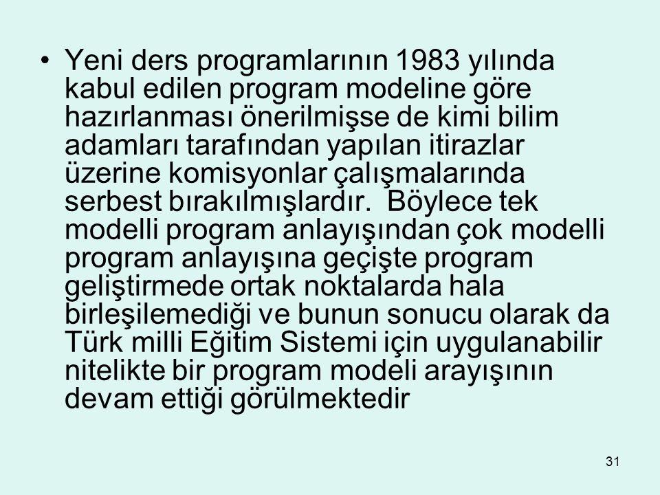 Yeni ders programlarının 1983 yılında kabul edilen program modeline göre hazırlanması önerilmişse de kimi bilim adamları tarafından yapılan itirazlar üzerine komisyonlar çalışmalarında serbest bırakılmışlardır.