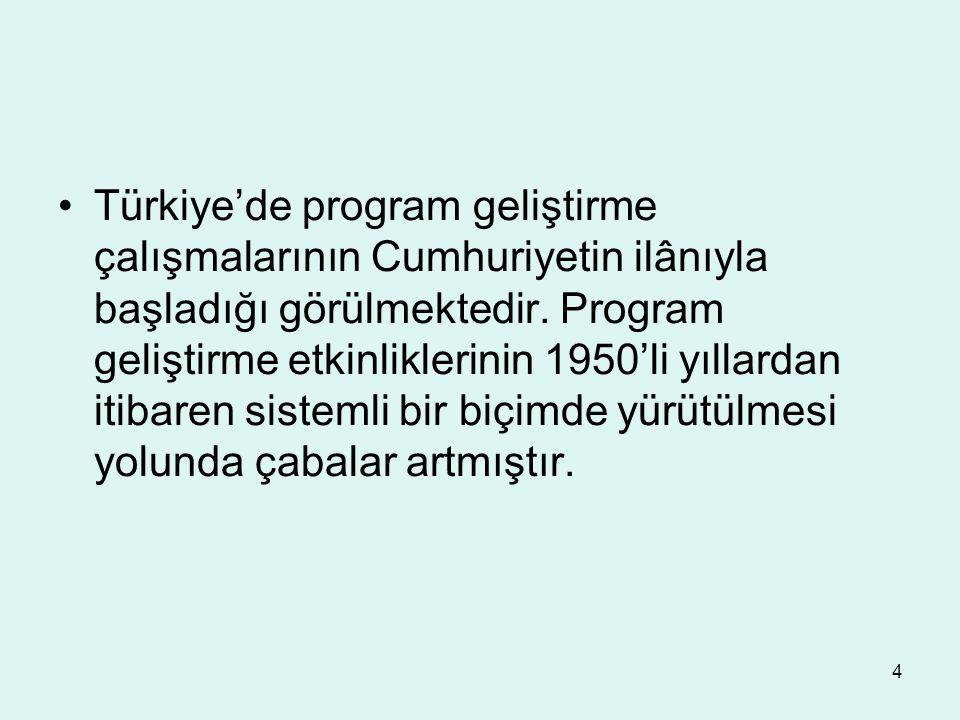 Türkiye'de program geliştirme çalışmalarının Cumhuriyetin ilânıyla başladığı görülmektedir.
