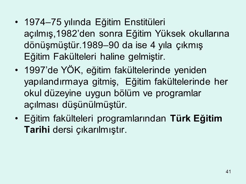 1974–75 yılında Eğitim Enstitüleri açılmış,1982'den sonra Eğitim Yüksek okullarına dönüşmüştür.1989–90 da ise 4 yıla çıkmış Eğitim Fakülteleri haline gelmiştir.