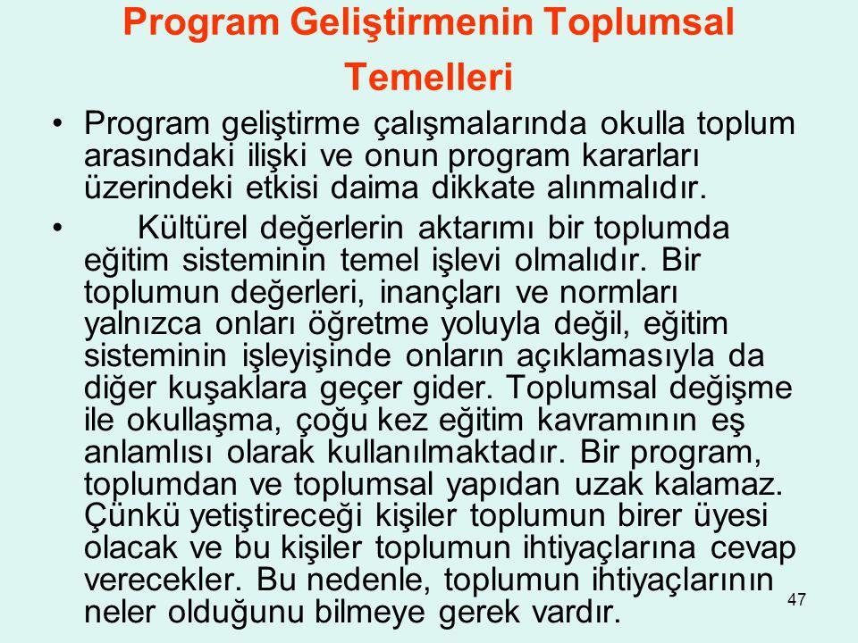 Program Geliştirmenin Toplumsal Temelleri