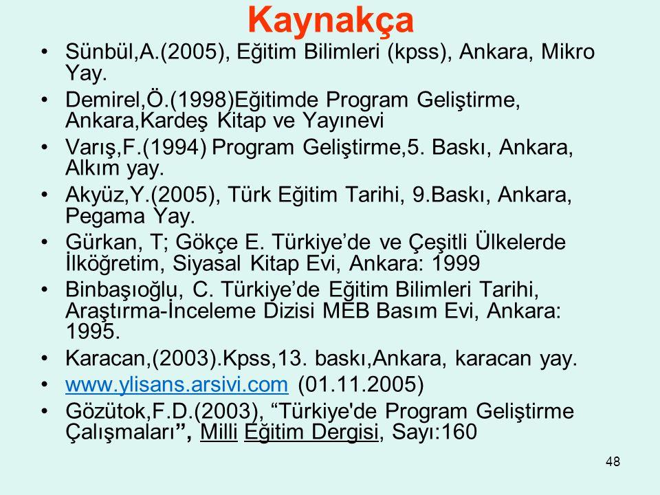 Kaynakça Sünbül,A.(2005), Eğitim Bilimleri (kpss), Ankara, Mikro Yay.