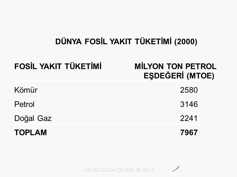 DÜNYA FOSİL YAKIT TÜKETİMİ (2000)