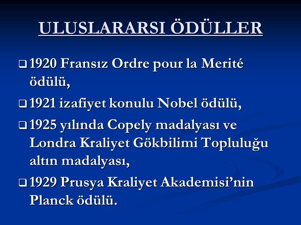 ULUSLARARSI ÖDÜLLER 1920 Fransız Ordre pour la Merité ödülü,