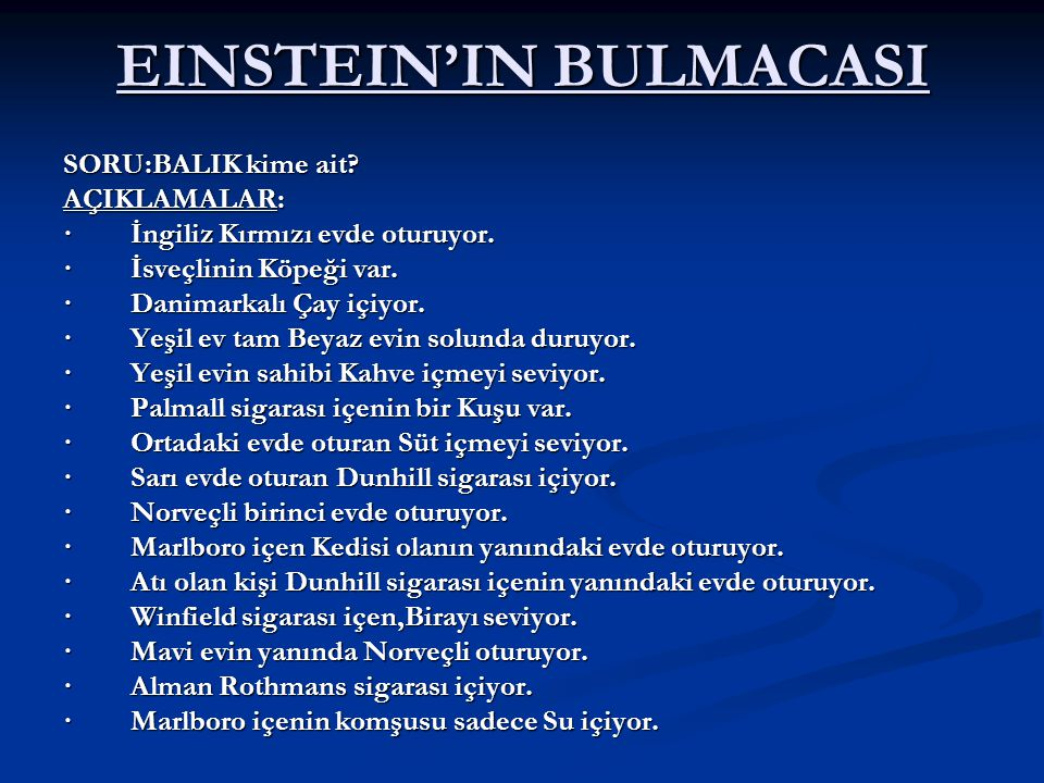 EINSTEIN'IN BULMACASI
