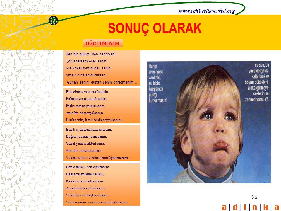SONUÇ OLARAK www.rehberlikservisi.org ÖĞRETMENİM