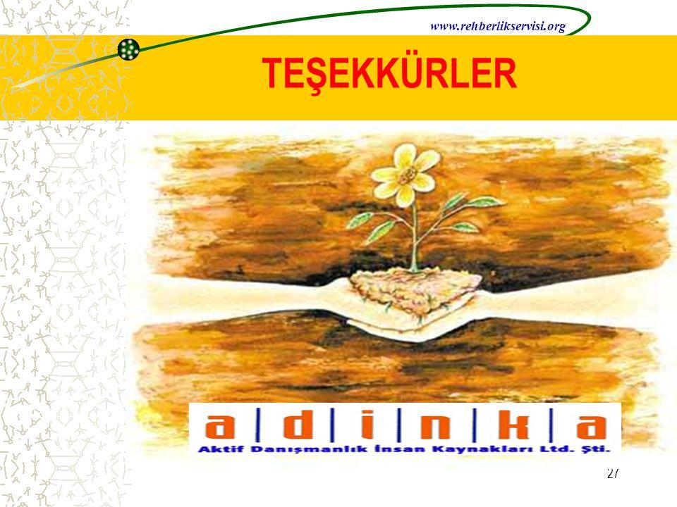 www.rehberlikservisi.org TEŞEKKÜRLER