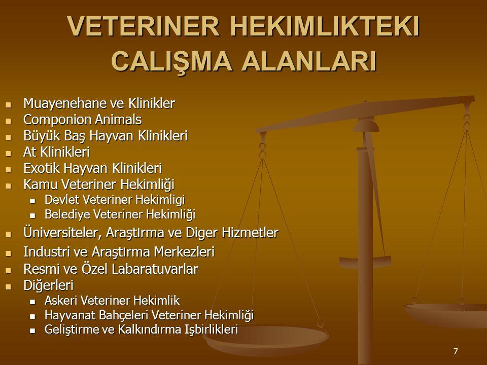 VETERINER HEKIMLIKTEKI CALIŞMA ALANLARI