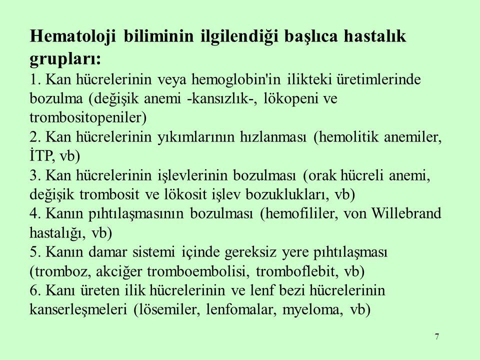 Hematoloji biliminin ilgilendiği başlıca hastalık grupları: