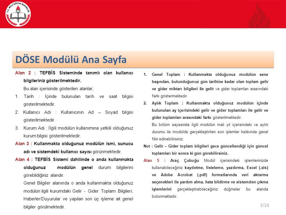 DÖSE Modülü Ana Sayfa Alan 2 : TEFBİS Sisteminde tanımlı olan kullanıcı bilgileriniz gösterilmektedir.