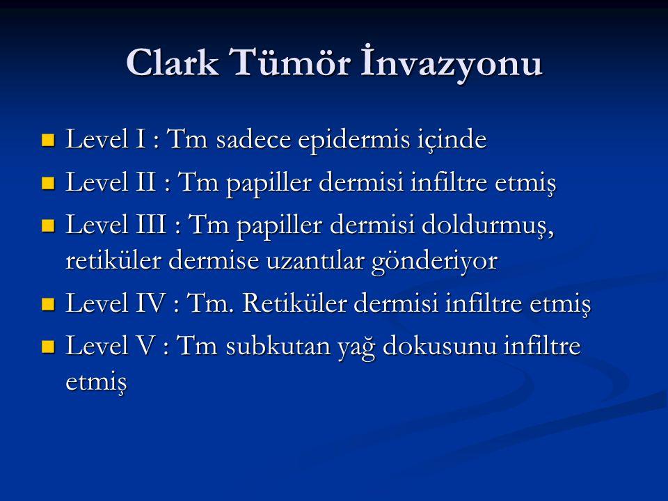 Clark Tümör İnvazyonu Level I : Tm sadece epidermis içinde