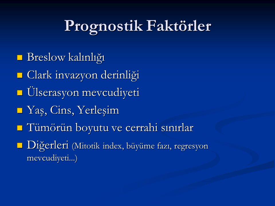 Prognostik Faktörler Breslow kalınlığı Clark invazyon derinliği