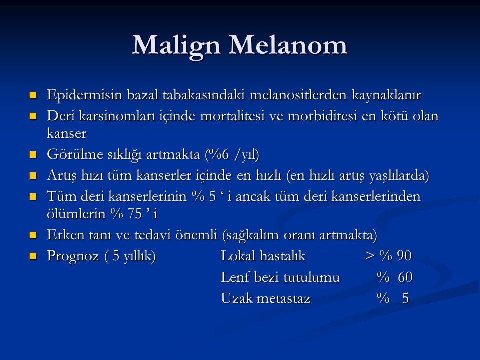 Malign Melanom Epidermisin bazal tabakasındaki melanositlerden kaynaklanır. Deri karsinomları içinde mortalitesi ve morbiditesi en kötü olan kanser.