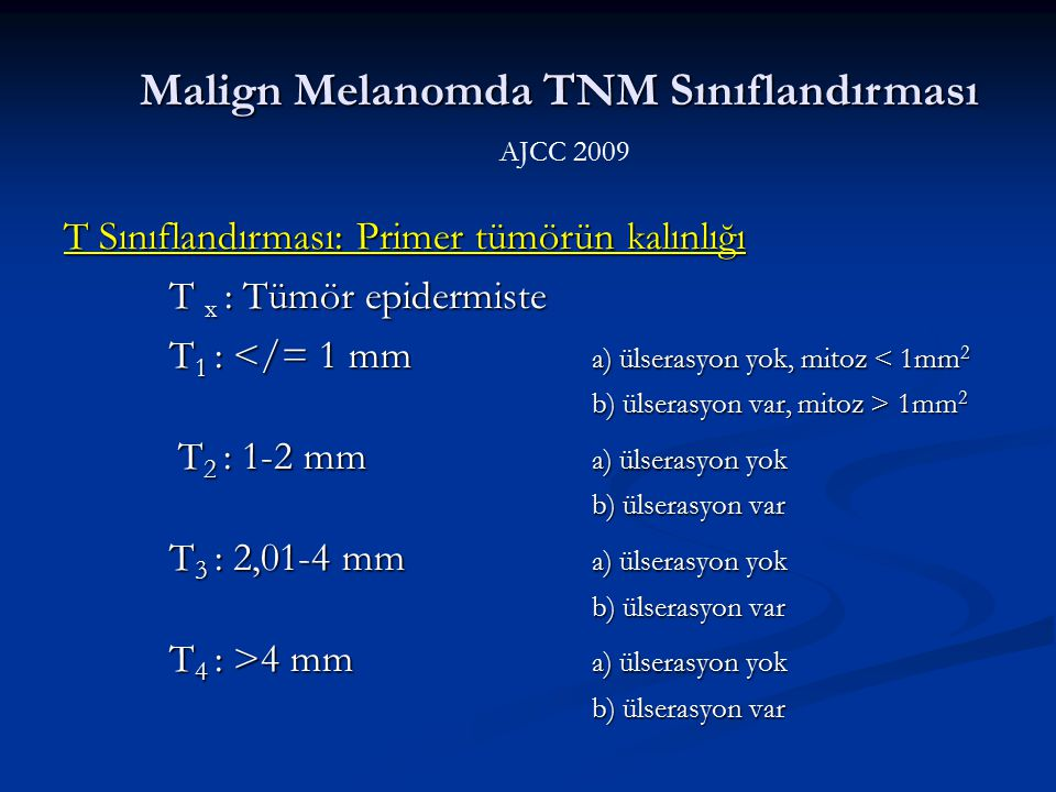 Malign Melanomda TNM Sınıflandırması AJCC 2009