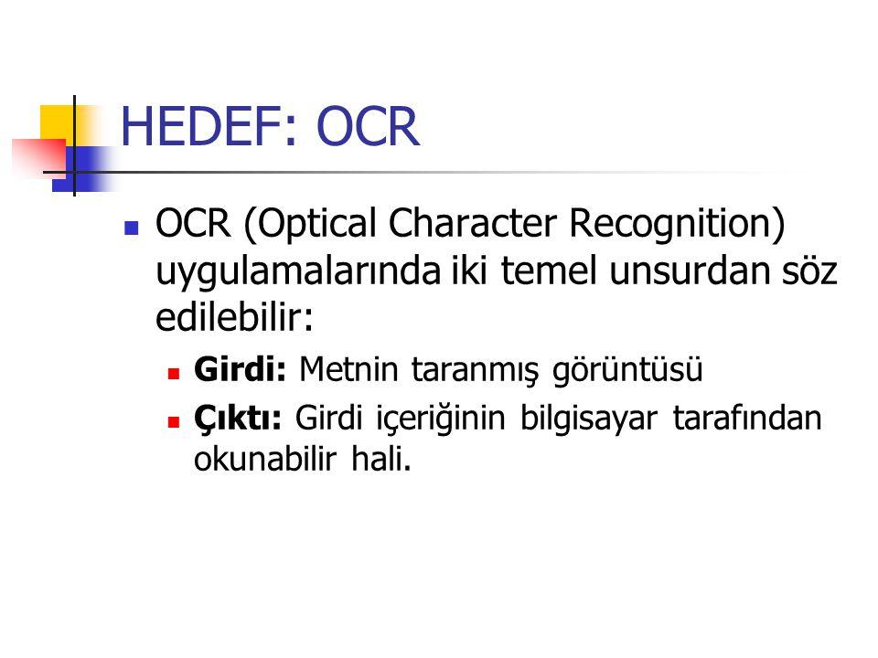 HEDEF: OCR OCR (Optical Character Recognition) uygulamalarında iki temel unsurdan söz edilebilir: Girdi: Metnin taranmış görüntüsü.