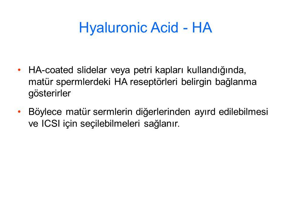 Hyaluronic Acid - HA HA-coated slidelar veya petri kapları kullandığında, matür spermlerdeki HA reseptörleri belirgin bağlanma gösterirler.