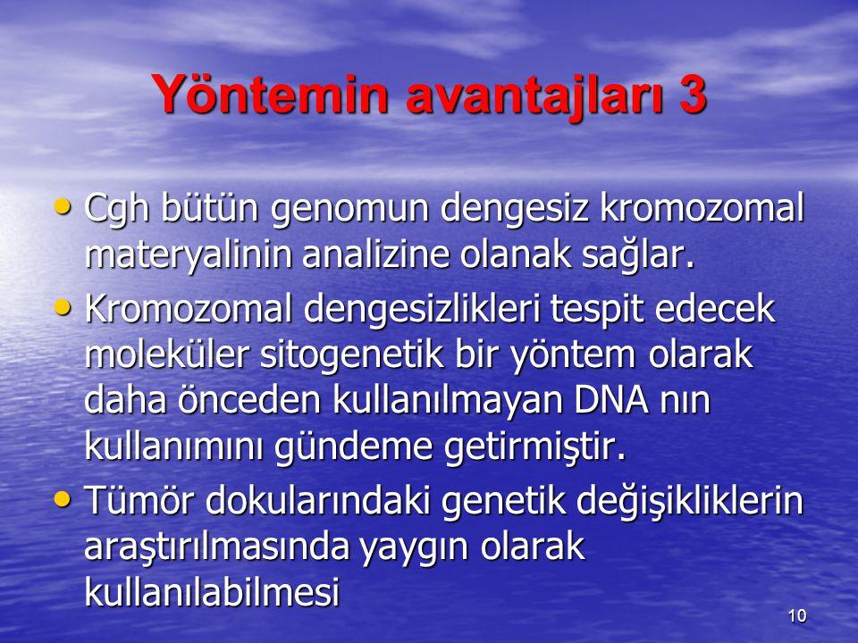 Yöntemin avantajları 3 Cgh bütün genomun dengesiz kromozomal materyalinin analizine olanak sağlar.