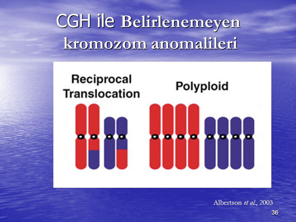 CGH ile Belirlenemeyen kromozom anomalileri