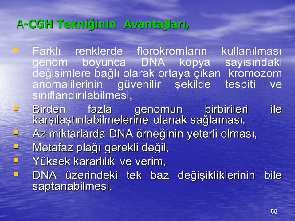 A-CGH Tekniğinin Avantajları,