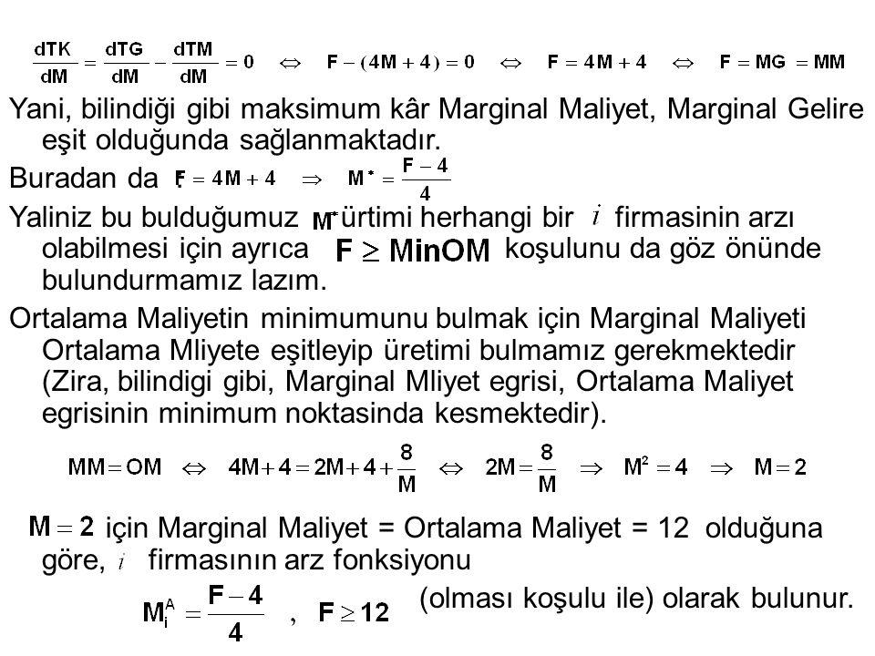 Yani, bilindiği gibi maksimum kâr Marginal Maliyet, Marginal Gelire eşit olduğunda sağlanmaktadır.