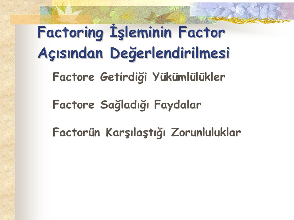 Factoring İşleminin Factor Açısından Değerlendirilmesi
