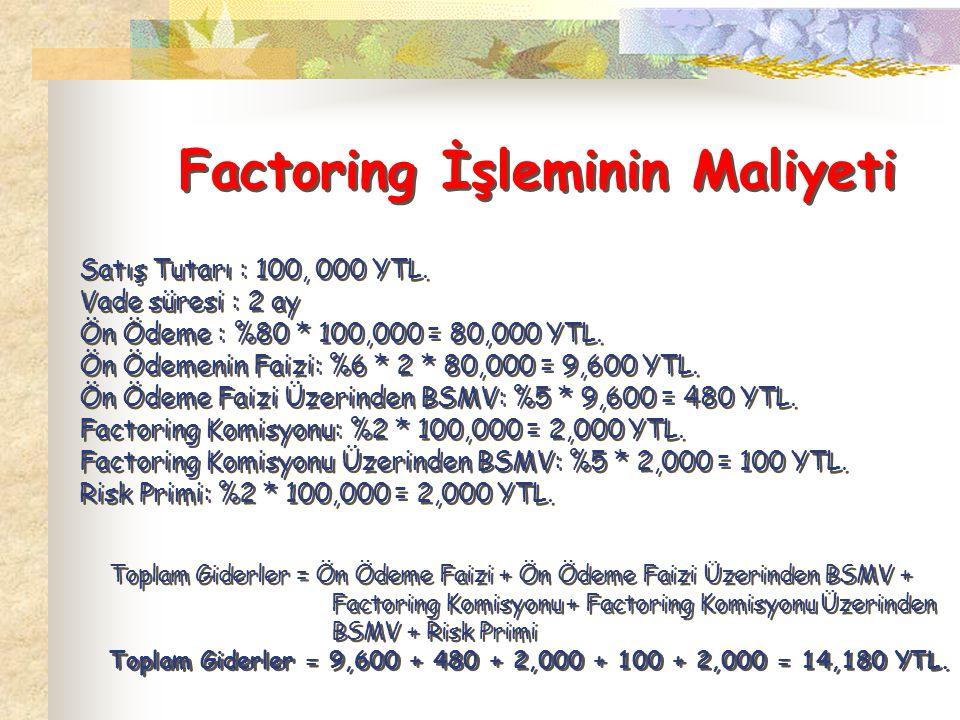 Factoring İşleminin Maliyeti