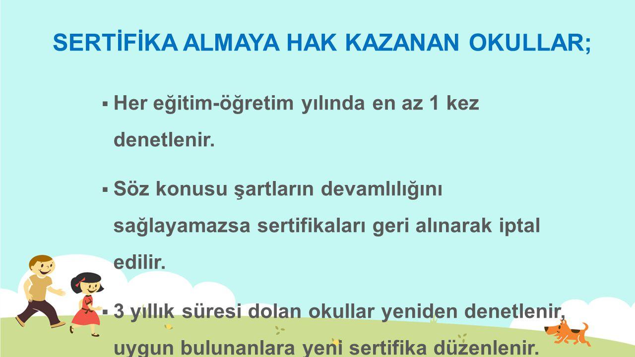 SERTİFİKA ALMAYA HAK KAZANAN OKULLAR;
