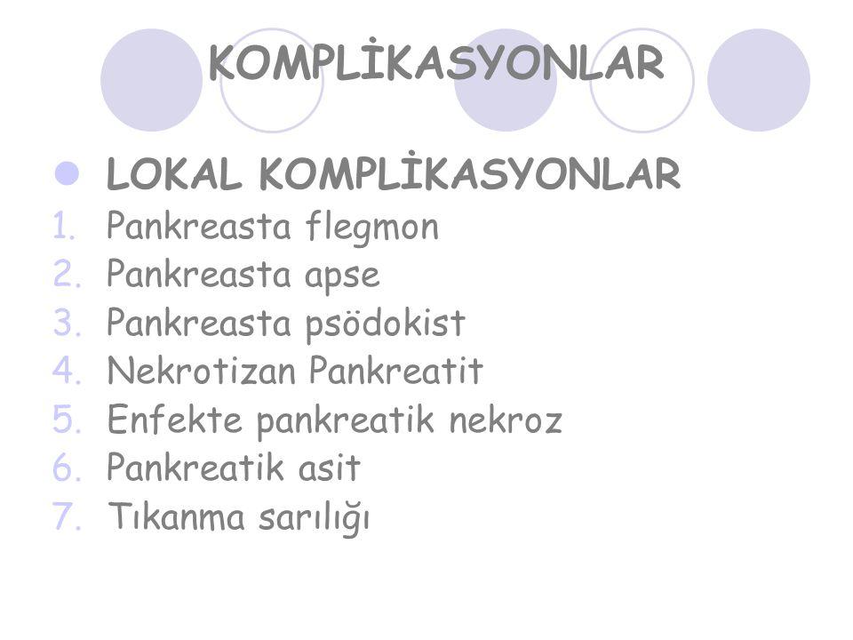 KOMPLİKASYONLAR LOKAL KOMPLİKASYONLAR Pankreasta flegmon