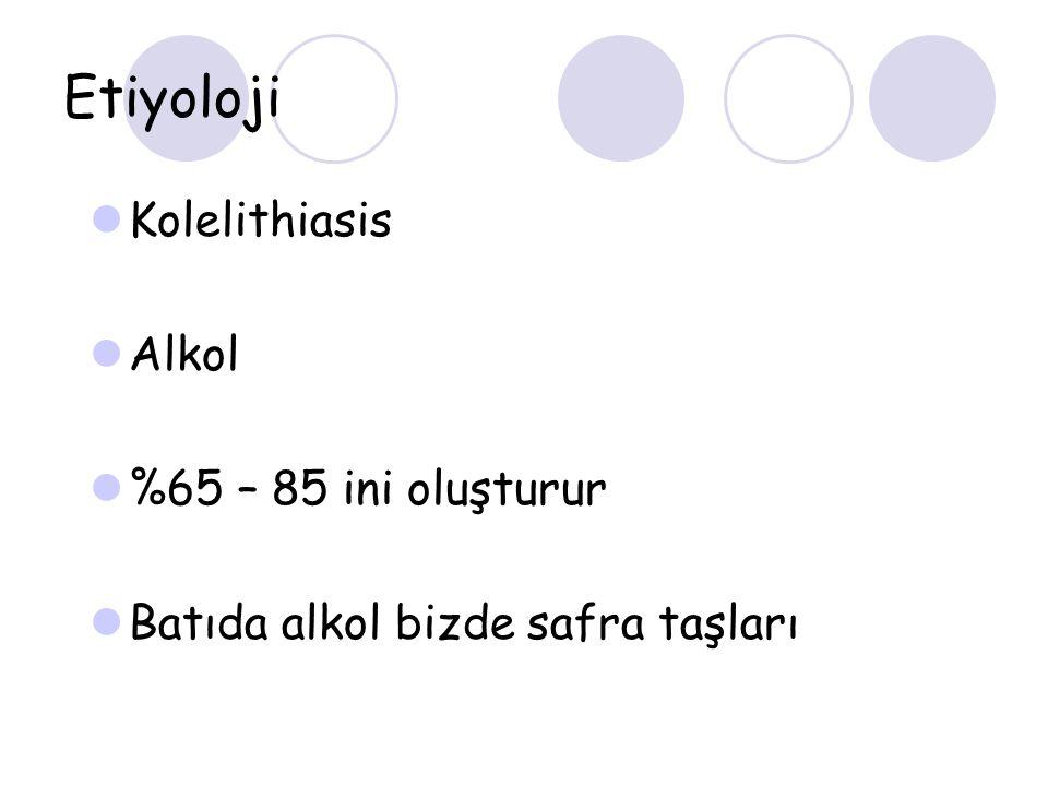 Etiyoloji Kolelithiasis Alkol %65 – 85 ini oluşturur