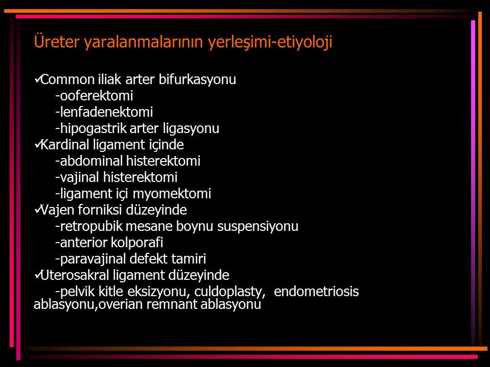 Üreter yaralanmalarının yerleşimi-etiyoloji
