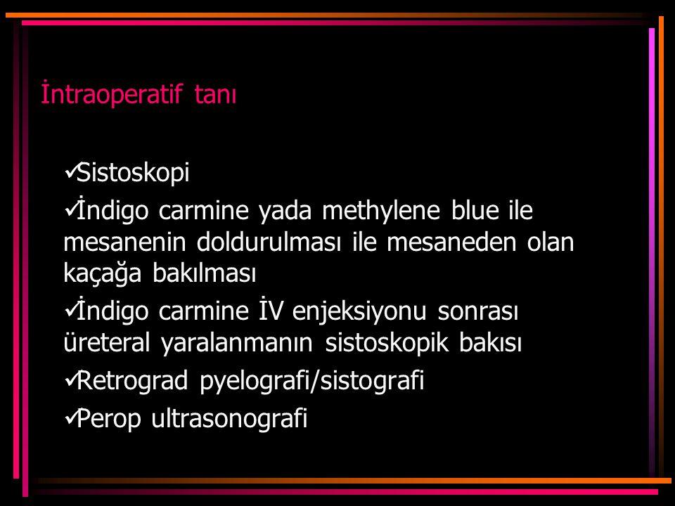 İntraoperatif tanı Sistoskopi. İndigo carmine yada methylene blue ile mesanenin doldurulması ile mesaneden olan kaçağa bakılması.