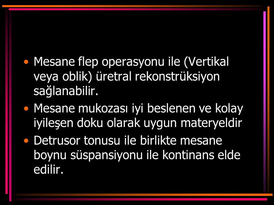 Mesane flep operasyonu ile (Vertikal veya oblik) üretral rekonstrüksiyon sağlanabilir.