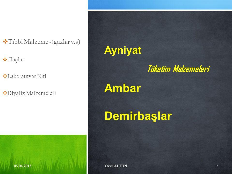 Ambar Demirbaşlar Ayniyat Tıbbi Malzeme -(gazlar v.s) İlaçlar