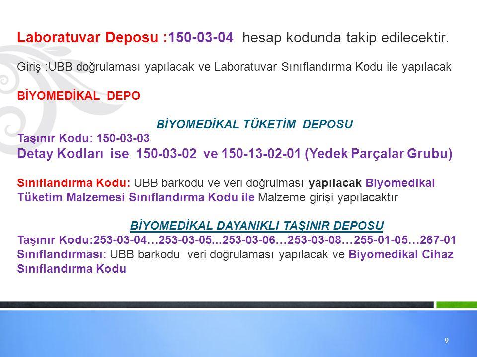 Laboratuvar Deposu :150-03-04 hesap kodunda takip edilecektir.