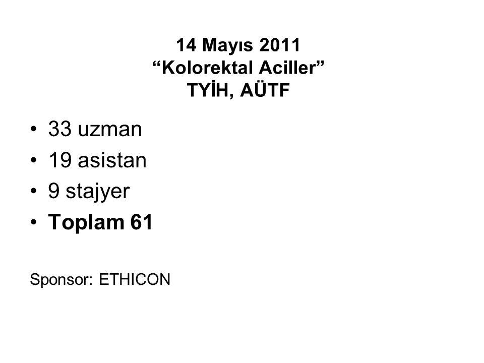 14 Mayıs 2011 Kolorektal Aciller TYİH, AÜTF