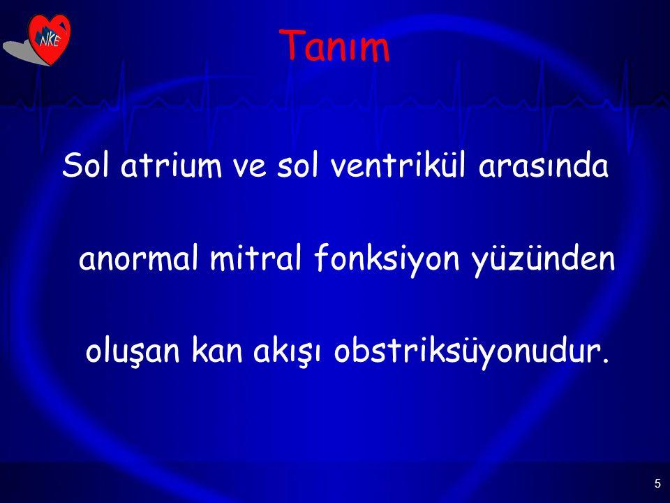 Tanım Sol atrium ve sol ventrikül arasında anormal mitral fonksiyon yüzünden oluşan kan akışı obstriksüyonudur.