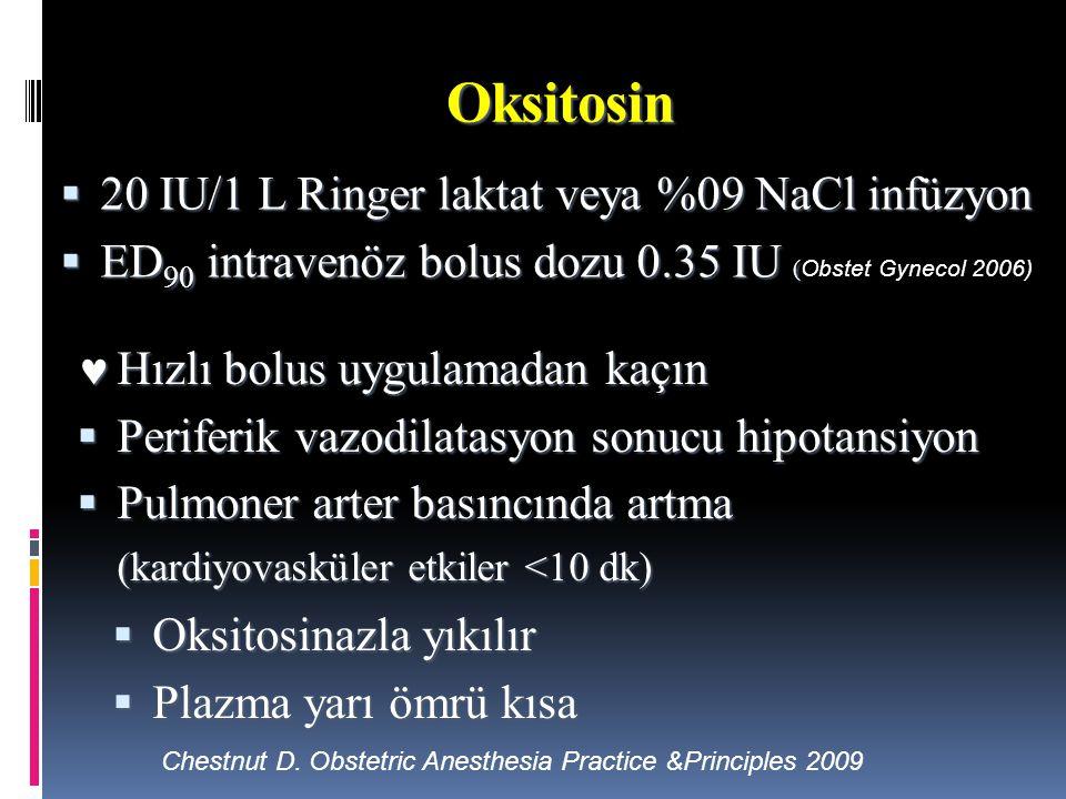 Oksitosin 20 IU/1 L Ringer laktat veya %09 NaCl infüzyon