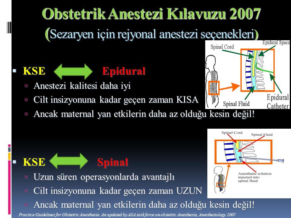 Obstetrik Anestezi Kılavuzu 2007 (Sezaryen için rejyonal anestezi seçenekleri)