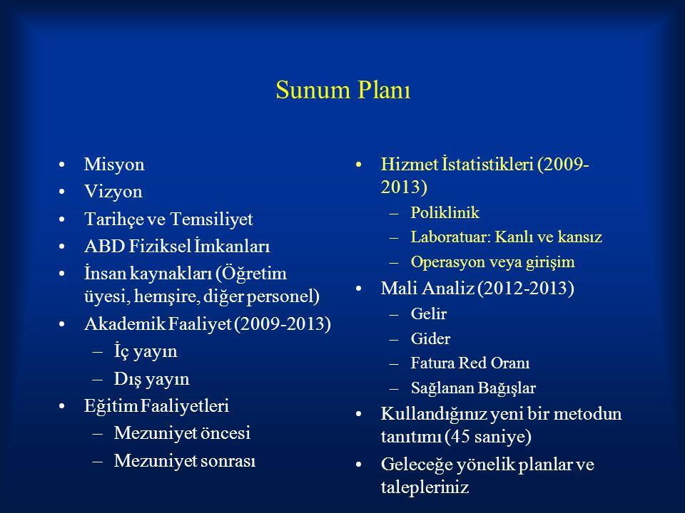 Sunum Planı Misyon Vizyon Tarihçe ve Temsiliyet ABD Fiziksel İmkanları