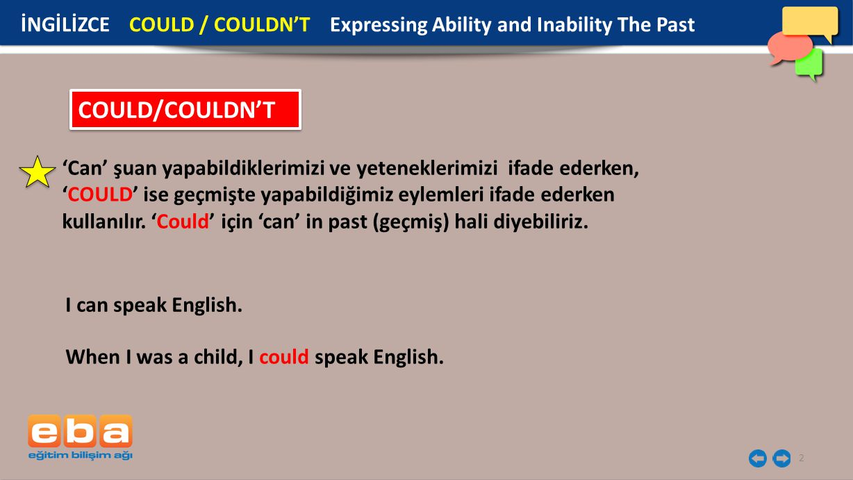 İNGİLİZCE COULD / COULDN'T Expressing Ability and Inability The Past