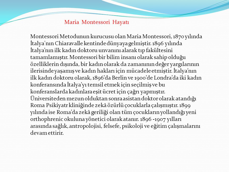 Maria Montessori Hayatı